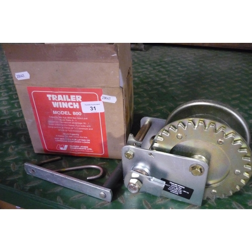 31 - Box as new Trailer Winch Model 800 by Watson Jones...
