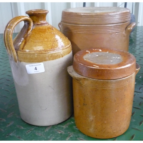 4 - Two salt glazed pots with lids and a flagon...