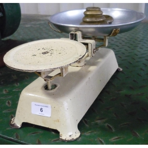 6 - Set of kitchen scales with a set of vintage weights...
