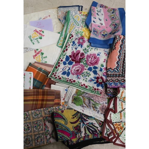 13 - Box containing approximately twenty four various assorted silk and other embroidered handkerchiefs...