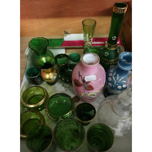 17 - Selection of late Victorian and later glassware in one box including Mary Gregory style jug with dec...
