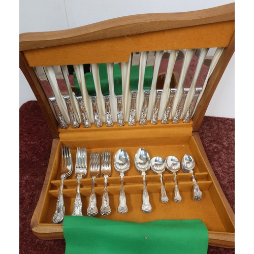26 - Wooden cased six place Kings pattern silver plated canteen of cutlery by Lambert Blaber, Sheffield...