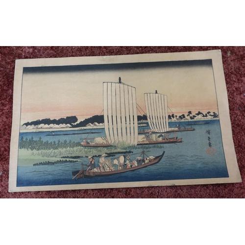 32 - Unframed Japanese print of boats returning to Gyotoko (c.1838) with signature panel translated to Ut...
