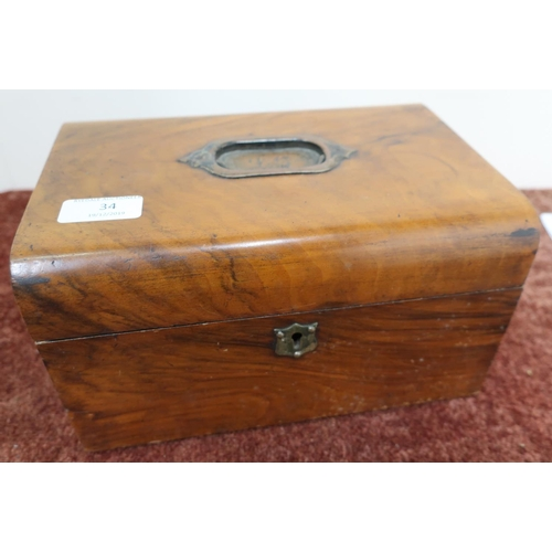 34 - 19th C walnut box with inset handle and hinged lift off lid, revealing internal lift out tray (25cm ...