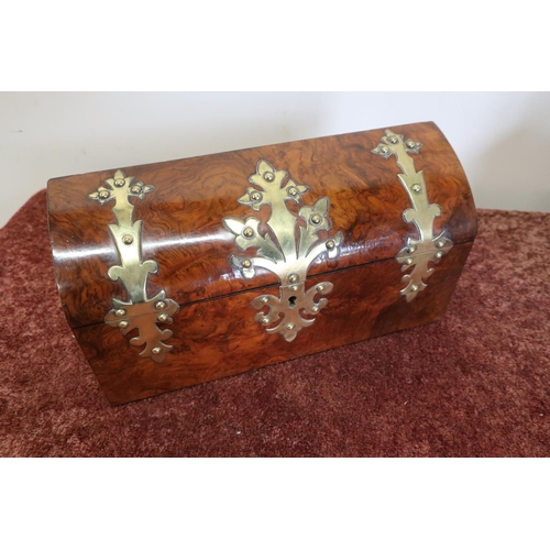 4 - Late Victorian walnut and brass mounted correspondence box with hinged D shaped top revealing fitted...