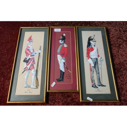13 - Three framed and mounted over painted prints of British soldiers from 1812 and 1756...