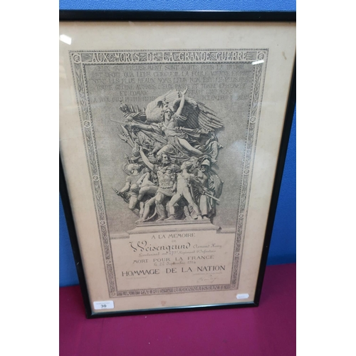 14 - Framed & mounted French A La Memoire for a Lieutenant in the 279 Regiment Infantry 22nd September 19...