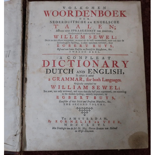101 - Half leather bound volume Volkomen A Complete Dictionary Dutch And English, originally compiled by W...