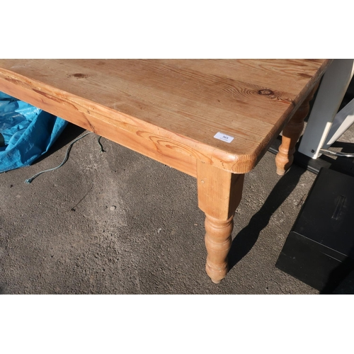 222 - Rectangular pine farmhouse style kitchen table on turned supports (90cm x 184cm x 80cm)...