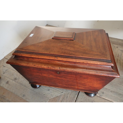 227 - 19th C mahogany rectangular cellarette with hinged stepped top, with tin liner, mounted on bun feet ...