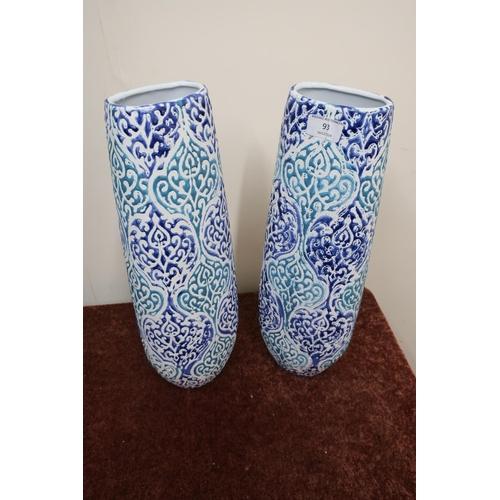 255 - Ex shop stock two pairs of blue glazed decorative vases...