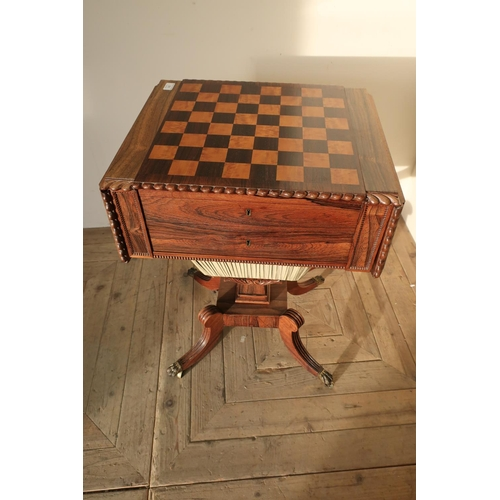 259 - William IV rosewood combination games table with reversible slide out chess board lid, revealing fit...