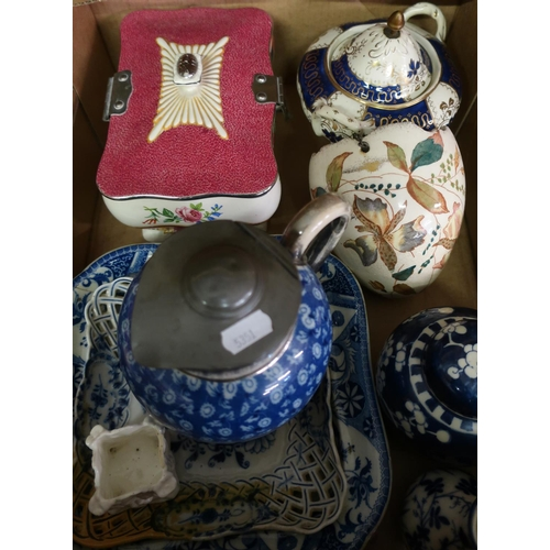 327 - Victorian and later ceramics in one box, including a Chinese style blue & white ginger jar with lift...