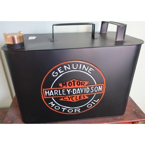382 - Quality reproduction Harley Davidson fuel can with brass screw off top...