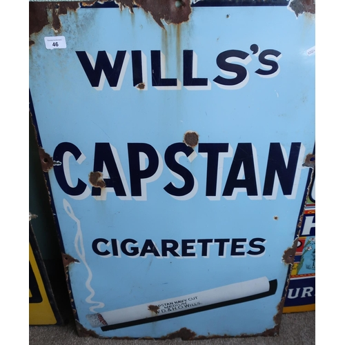 383 - Enamel advertising sign for Wills Capstan cigarettes (60.5cm x 91.5cm)...