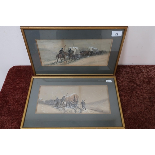 59 - Pair of over painted military prints of marching troops in winter scene, possibly French - Russian C...