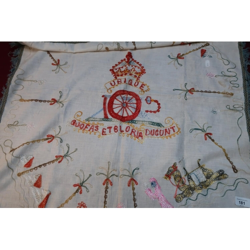 60 - Large circa WWI embroidered table cloth with Egyptian type scenes and Royal Artillery cap badge...