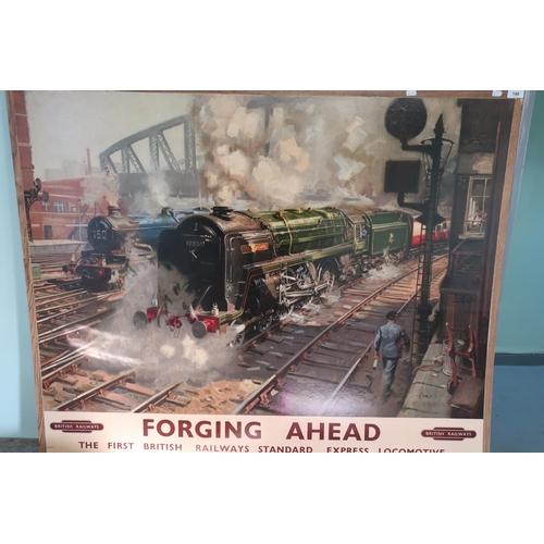 31 - Large framed coloured Cuneo British Railways print 'Forging Ahead' (126cm x 101cm)...