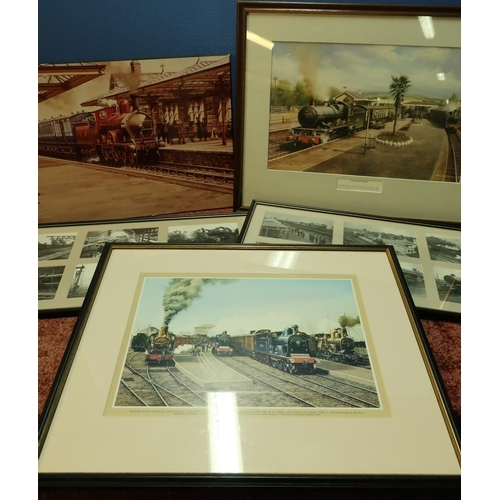 32 - Box containing a quantity of various framed and unframed railway related pictures, prints, black & w...