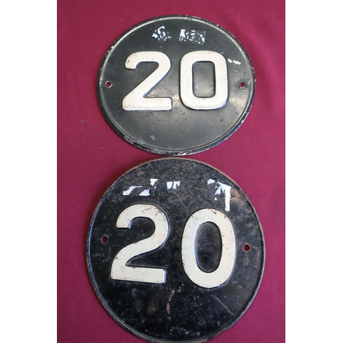 36 - Two aluminium circular black and white No. 20 signs...