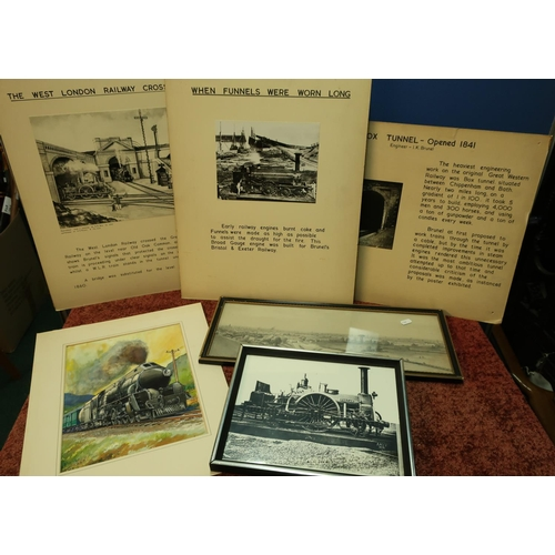 38 - Box of various assorted railway related pictures, prints, etc including framed and unframed, informa...