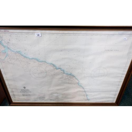 41 - Framed map of England East Coast River Tees to Scarborough, copyright 1975 (110cm x 77cm including f...