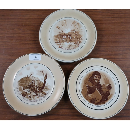 10 - Set of three Grimwades Winton Bruce Bairnsfather comical WWI plates...