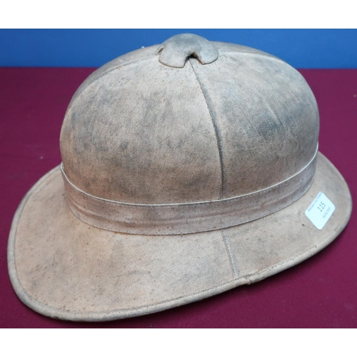115 - British WWII period pith helmet with leather chinstrap and liner...