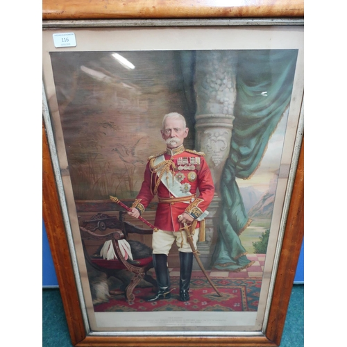 116 - Maple framed and mounted coloured print of Field Marshall Frederick Sleigh Earl Roberts of Kandahar ...