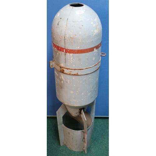 122 - Fibre glass and aluminium round nose bomb casing (height 105cm)...