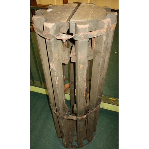 123 - Wooden and metal framed hinged circular transportation casing stamped BRUTTO85 NIE RZUCAK (height 11...