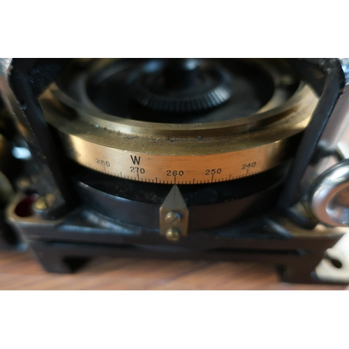 16 - British Naval sighting type device with Marine bronze mounts, 360 degree turning North, East, South,...