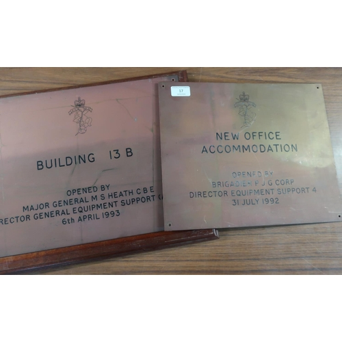 17 - Two brass military building plaques relating to R.E.M.E, one open by Brigadier P.J.G Corp Director E...