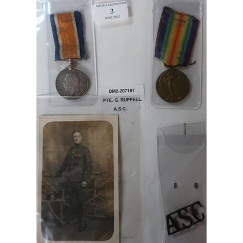 3 - WWI pair awarded to DM2-207187 PTE.G.RUFFELL A.S.C with associated shoulder title badge and photogra...