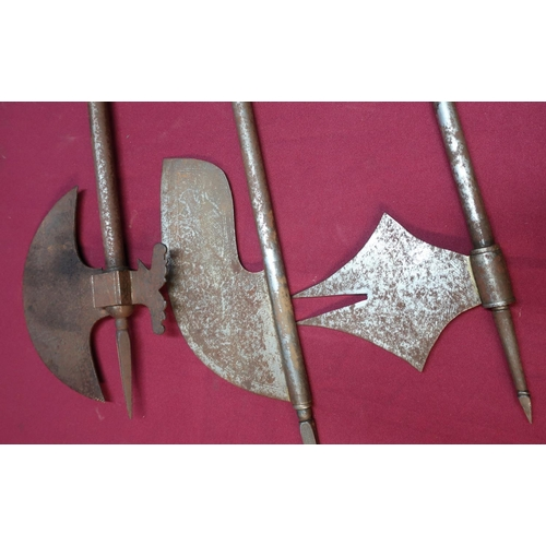 46 - Group of three 19th/20th C Indian steel single handed axes of various shapes and forms with spear he...
