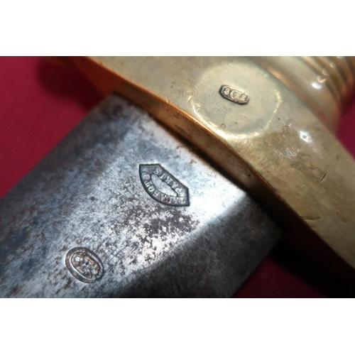 50 - 19th C French Artillery Gladius type sword with 19 inch double edged swollen blade stamped with vari...