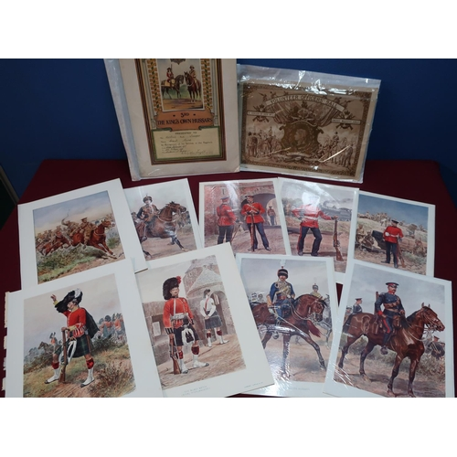 54 - Quantity of various military ephemera, 19th & 20th C including various coloured military prints, cut...