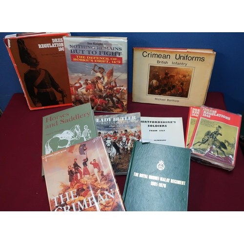 55 - Quantity of military related books and military reference books on various subjects, mostly 19th C, ...
