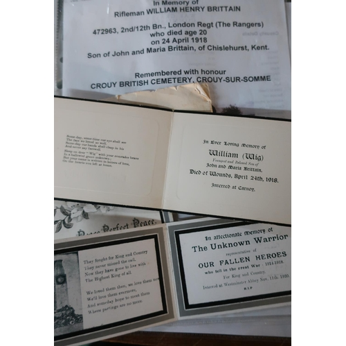 8 - Collection of five memorial cards sent to Mr & Mrs Brittain with photocopied research material for W...