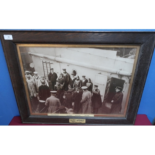 99 - Oak framed large photographic print with associated ivorine plaques 'Lord Kitchener and the members ...