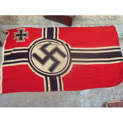 131 - Large WWII German Nazi Kriegsmarine flag with eagle above Swastika M Krfl 150 x 250 including old re...