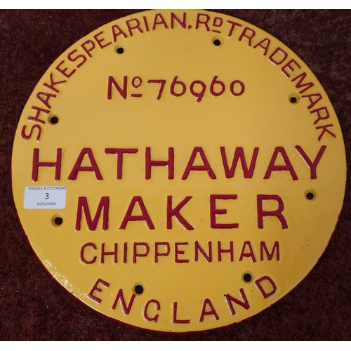 3 - Cast metal circular makers plaque for the Shakespearian Rd Trademark No.76960 Hathaway Maker Chippen...