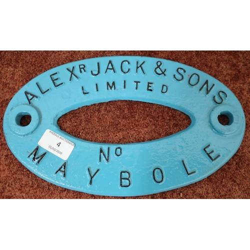 4 - Oval cast metal makers plaque for Alex Jack & Sons Limited Maybole (28.5cm x 17cm)...