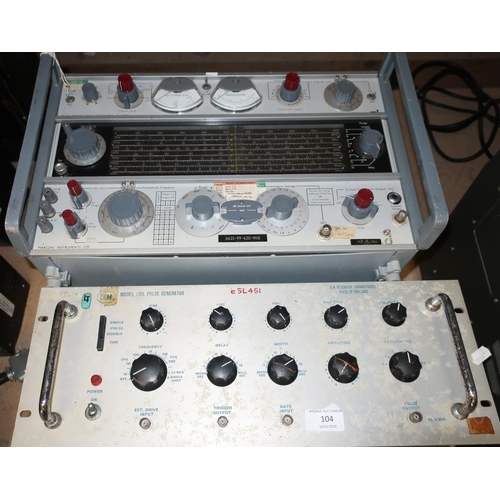 104 - Model 132L Pulse Generator from E-H Research Laboratories and a 1980 military issue Marconi Instrume...