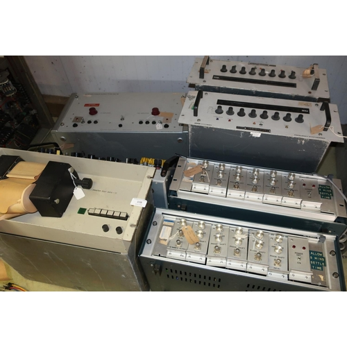 108 - Selection of various Cold War era military electronic equipment including a receiver power supply ty...