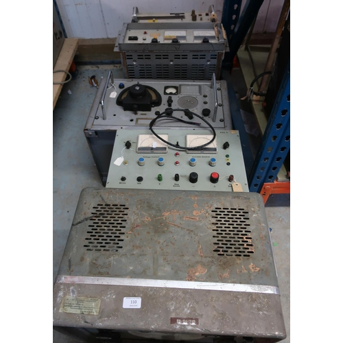 110 - Selection of mid - late 20th C and Cold War era military electronic equipment, including a video osc...