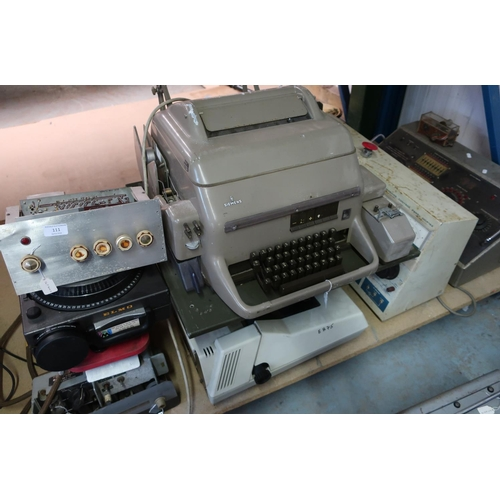 111 - Large selection of mid - late 20th C Cold War era military electronics, including Siemens printing d...
