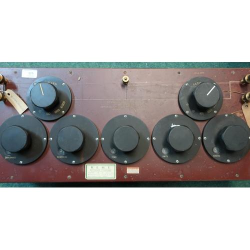 125 - Mahogany cased Bridge Wheatstone No. 1A absolute OHMS unit, serial no. 1892/1950H.W.SLTD with Reme r...