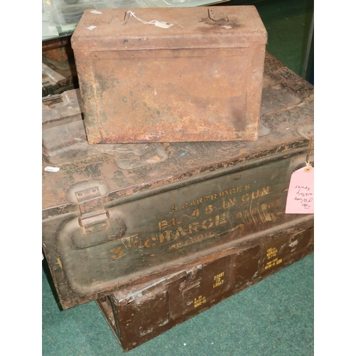127 - Three various metal military ammo style crates, one marked 'Cartridges BL45 in Gun 3rd Charge', anot...