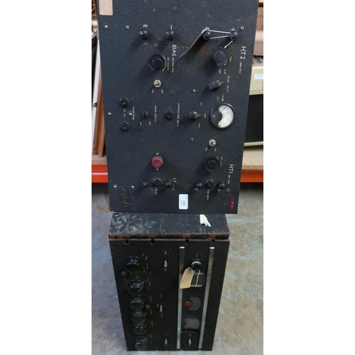 140 - Two circa WWII military electronic units including a Receiver RCA with Bakelite knobs 26939 and anot...